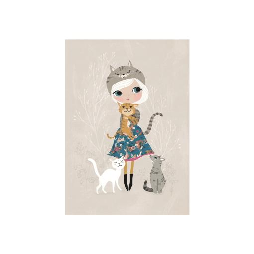 Kaart katten meisje