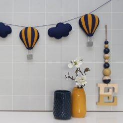 Slinger luchtballon donkerblauw okergeel