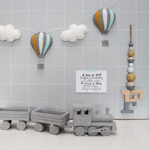 Slinger luchtballonnen grijs oker mint