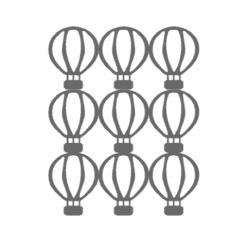 Vel met muurstickers luchtballonnen grijs