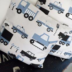 Sierkussen voertuigen jeansblauw