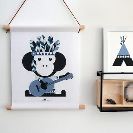 Textielposter indianen aap