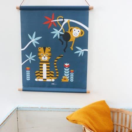 Jungle textielposter donkerblauw