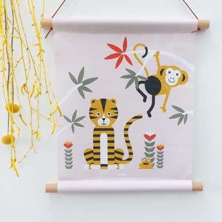 Textielposter oud roze Jungle