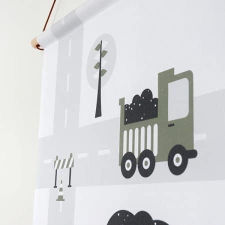 detail textielposter olijfgroen