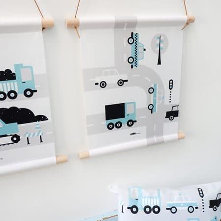 textielposter blauw met auto's