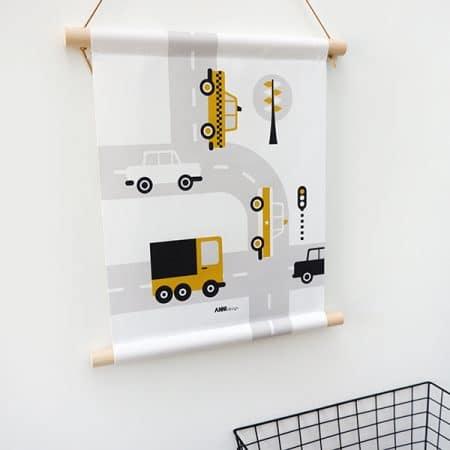 auto textielposter okergeel