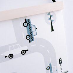 Poster voertuigen auto's jeansblauw