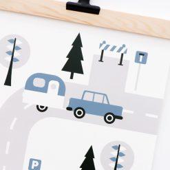 Poster voertuigen caravan jeansblauw