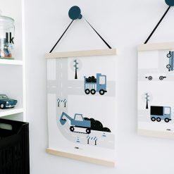 Poster Voertuigen - Graafmachine - Jeansblauw
