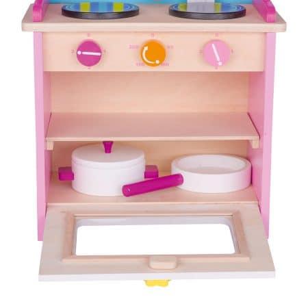 roze houten speelkeuken
