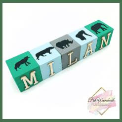Naamblokken Jungle stijl - letterblokken - houten blokken naam - jungle - kinderkamer decoratie - babykamer decoratie