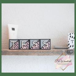 Naamblokken Hartjes - letterblokken - houten blokken naam - kinderkamer decoratie - babykamer decoratie