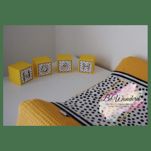 Naamblokken Dots - letterblokken - houten blokken naam - jungle - kinderkamer decoratie - babykamer decoratie