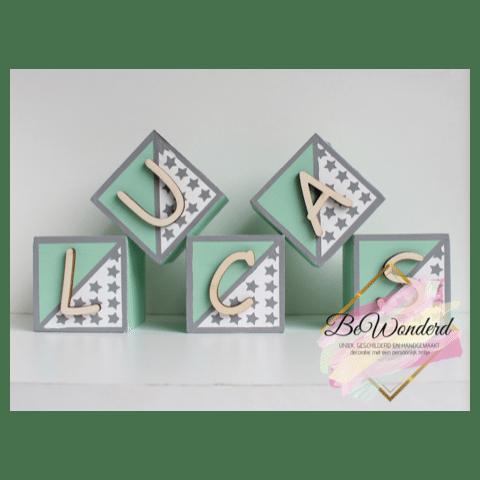 Naamblokken sterren - deco blokken kinderkamer - houten blok met naam - kinderkamer decoratie