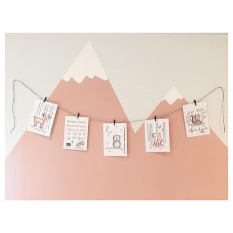 Slinger - decoratieve slinger met kaartjes - kaarten - bosdieren