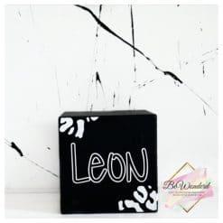 spaarpot hout - spaarpot kinderkamer - leopard print - kinderkamer - hou van hout - xxl spaarpot