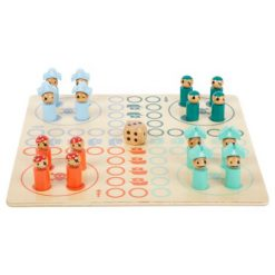 houten speelbord mens erger je niet met piraten in rood, mint, groen en blauw