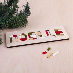 kerst puzzel - naampuzzel - kerstcadeau - hou van hout