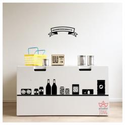 Ikea Stuva bank met kruidenierswinkeltje stickers