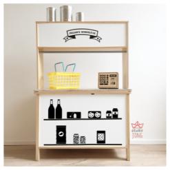 Ikea Keukentje met kruidenierswinkel stickers