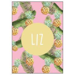 Roze naamposter met naam en ananas