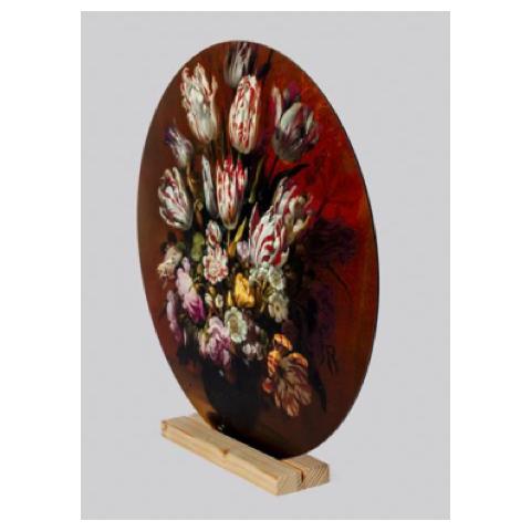 Muurcirkel met bloemen in houder
