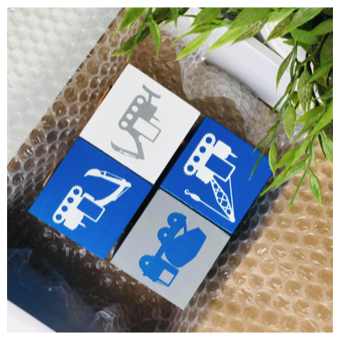 Bovenkant naamblokken met bouw voertuigen