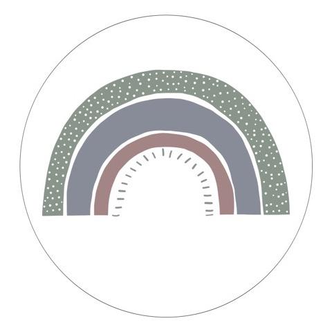 Witte forex muurcirkel met regenboog in naturel tinten