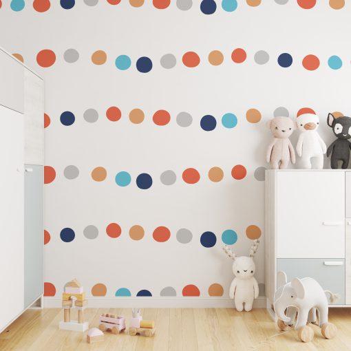 Kinderkamer met behang muur dots