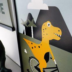 Kinderkamer poster met dino op de fiets