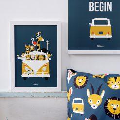 Kinderkamer poster Safari dieren donkerblauq