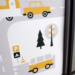 Poster Voertuigen Caravan Okergeel