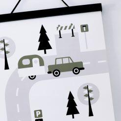 Poster voertuigen Caravan Olijfgroen