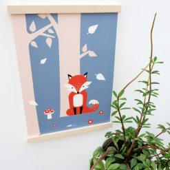 Kinderkamer poster met vos in bos