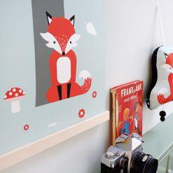 Kinderkamer poster met vos in het bos