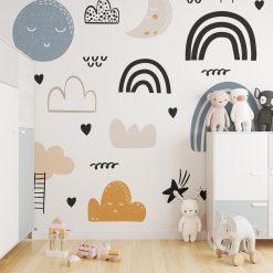 Kinderkamer muur met grijsblauwe regenbogen behang