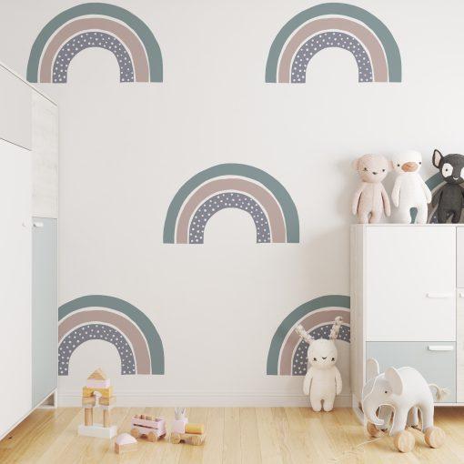 Kinderkamer muur met regenbogen behang