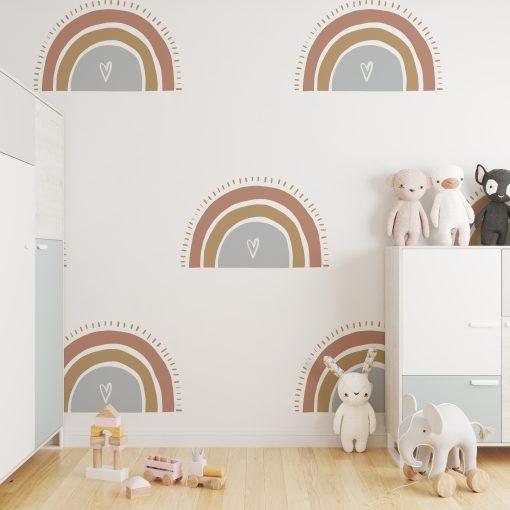 Kinderkamer muur met behang rainbow hearts - hartjes regenbogen
