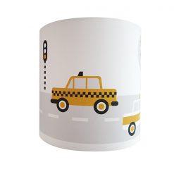 Kinderkamer wandlamp met gele voertuigen