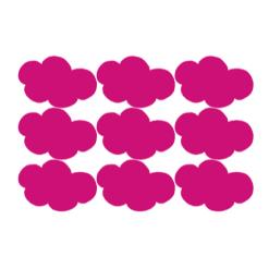 Vel met fuchsia roze wolken stickers