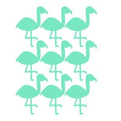Muurstickers mintgroene Flamingo