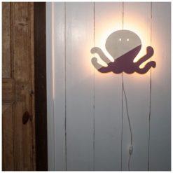 Wandlamp inktvis van hout