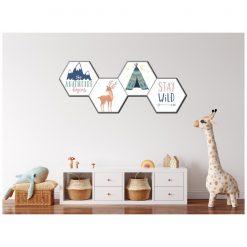 Kinderkamer muur met Adventure Hexagons pastel