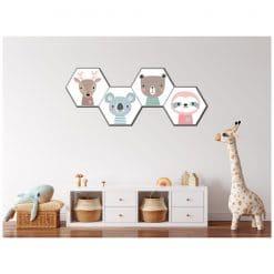 Kinderkamer muur met bosdieren hexagon