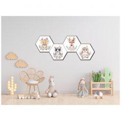 Kinderkamer muur met bosdieren hexagons