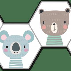 Hexagons bosdieren pastel