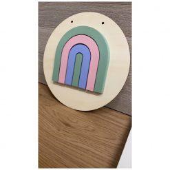 Decoratieve muurcirkel hout met regenboog 3D