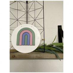 Houten muurcirkel 20 cm met regenboog