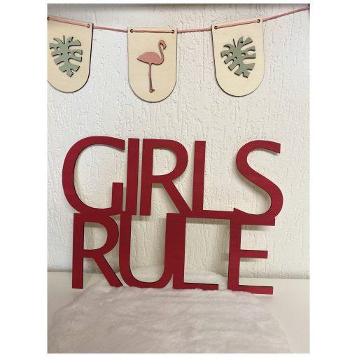 Girls Rule, houten deco woord
